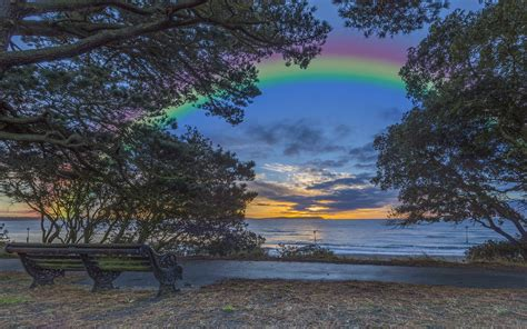 Rainbow Over the Lake HD Wallpaper   Background Image